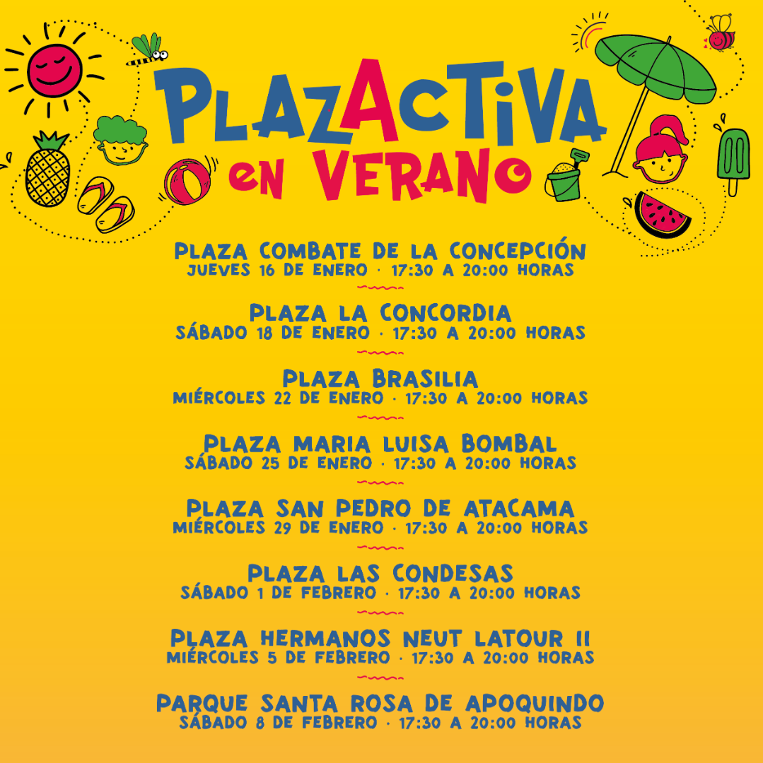 Calendario de Plazactiva en verano.