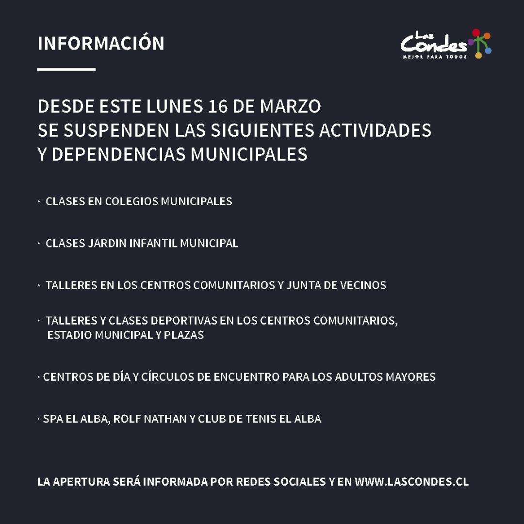 Suspensión de actividades municipales en la comuna