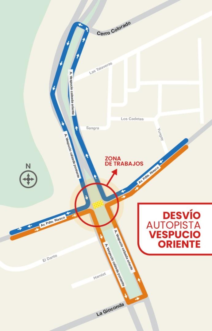 Cierre de intersección Av. Pdte. Riesco con Parque Vespucio